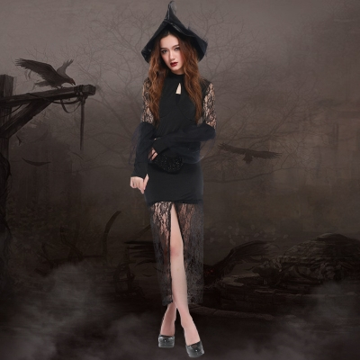 Slim sexy lace dress Halloween witch and witch