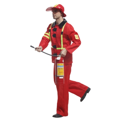 Halloween Adult Costume Maternity Ball Party Male Male Red Fireman Dress Up Performance Costume