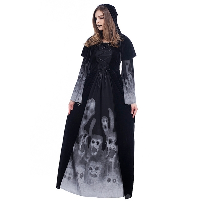 Halloween new skeleton printing witch long vampire dress queen dress