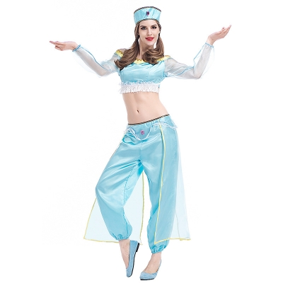 2017 new jasmine princess Aladdin lamp in the heroine blue belly dance dress Indian clothes
