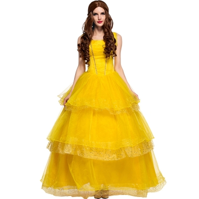 2017 princess skirt yellow fairy costume European retro palace dress fairy tale theme costume stage performance