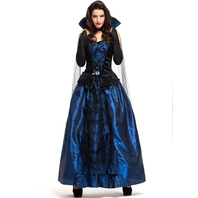 2018 New Halloween Party Party Costume Blue Demon Ji Palace Dress Queen Earl Dress Vampire Suit