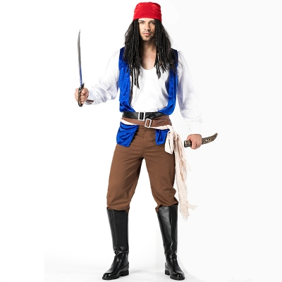 2018 new Pirate Costumes Halloween men's role-playing clothing real shot export cosplay male pirate costume