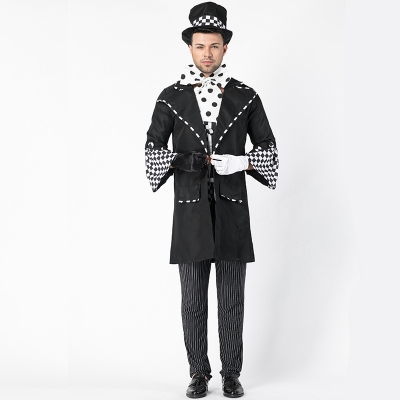 2018 new magician cosplay men's uniform real shot European code magician costume Chaplin role-playing stage