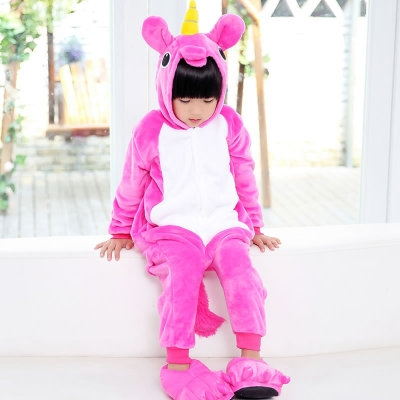 Flannel Pegasus animal one-piece pajamas children's home wear